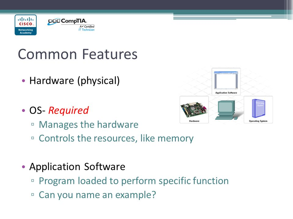 Common Features Hardware (physical) OS- Required Application Software