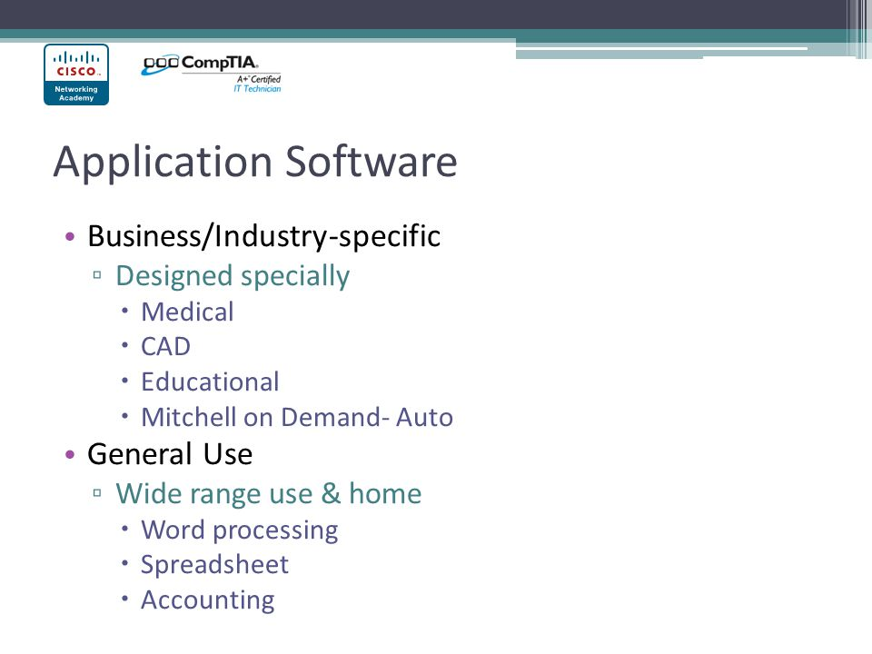 Application Software Business/Industry-specific General Use