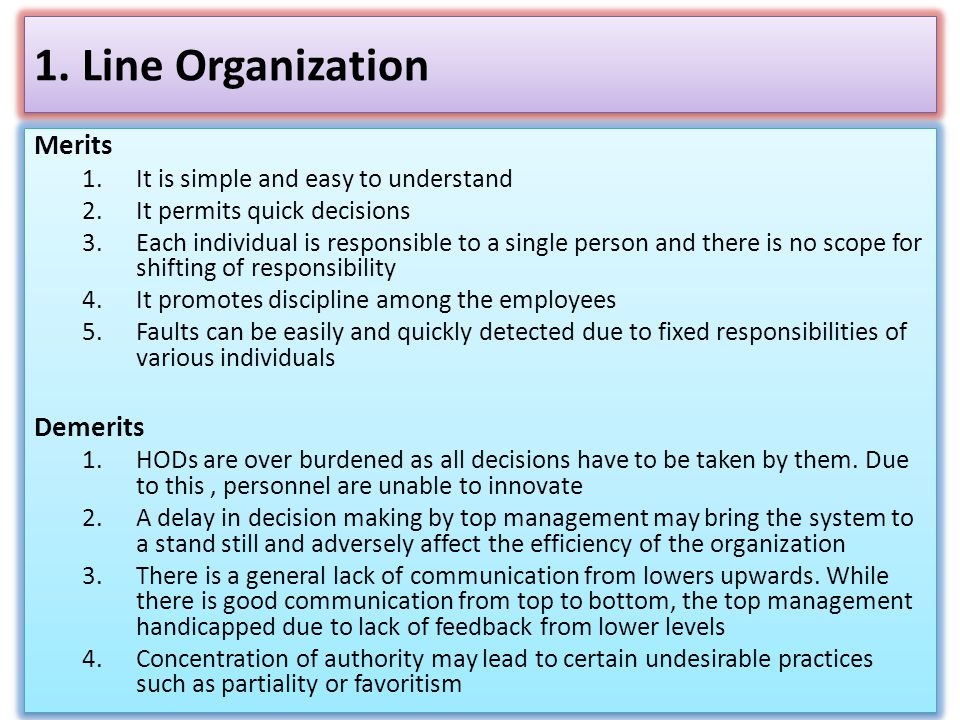 1. Line Organization Merits Demerits