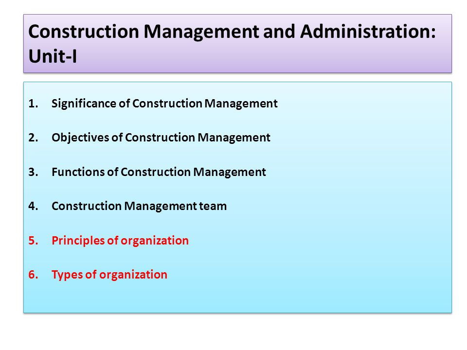 Construction Management and Administration: Unit-I