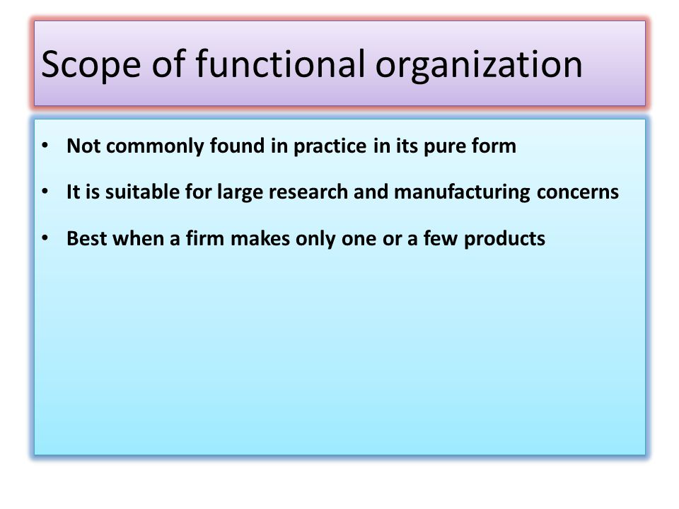 Scope of functional organization