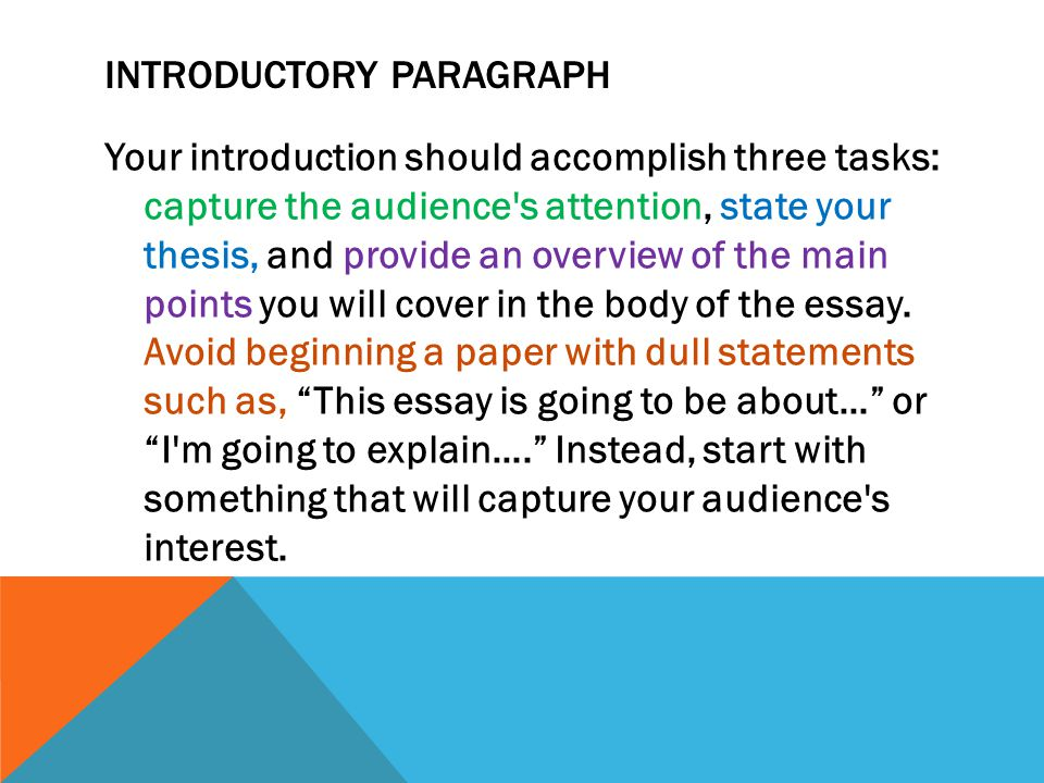 the introductory statement of an essay should What is a comparative essay  create a thesis statement that reflects their relative  do not simply append two disconnected essays to an introductory thesis.