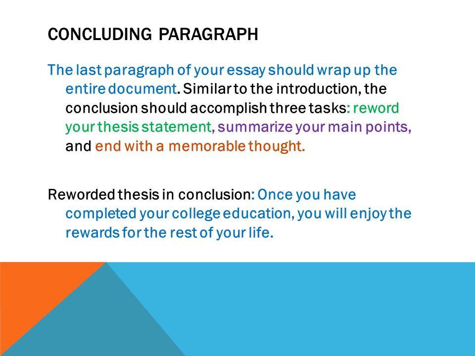 Concluding essays paragraph College paper Academic Service