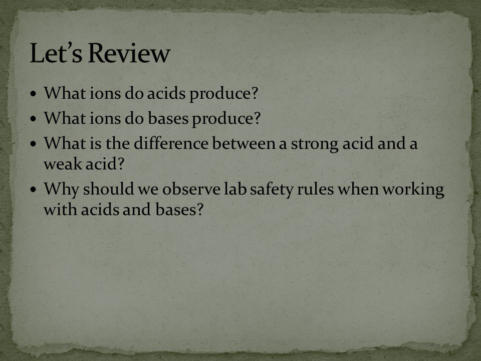 Let's Review What ions do acids produce What ions do bases produce