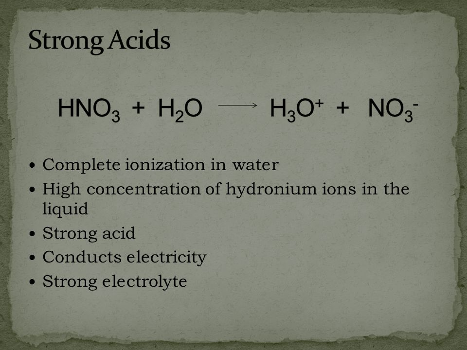 Strong Acids HNO3 + H2O H3O+ + NO3- Complete ionization in water