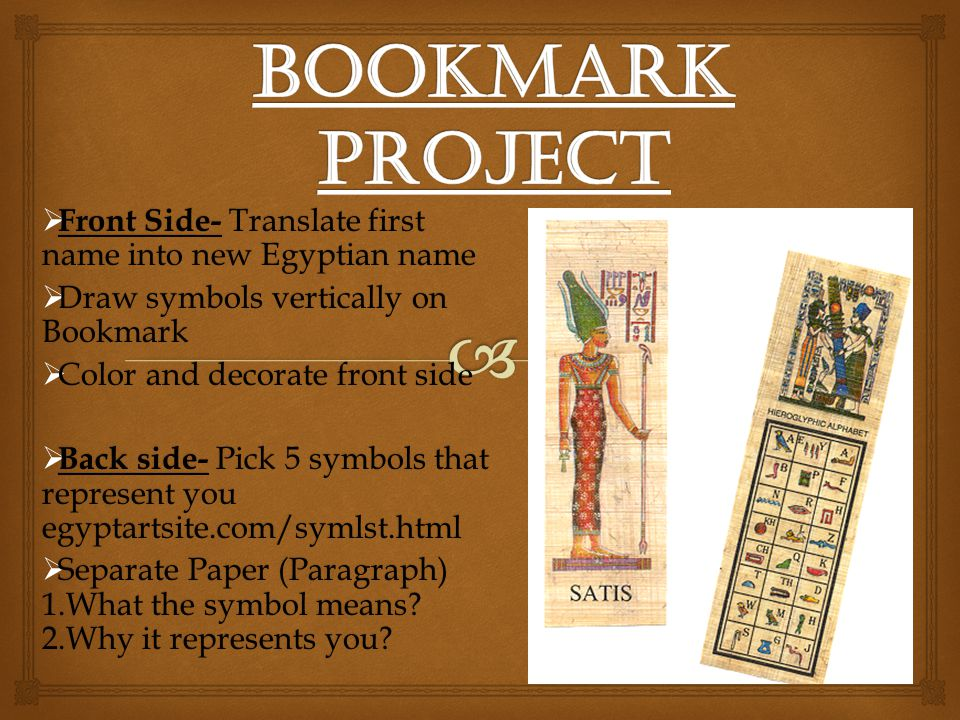 Bookmark Project Front Side- Translate first name into new Egyptian name. Draw symbols vertically on Bookmark.