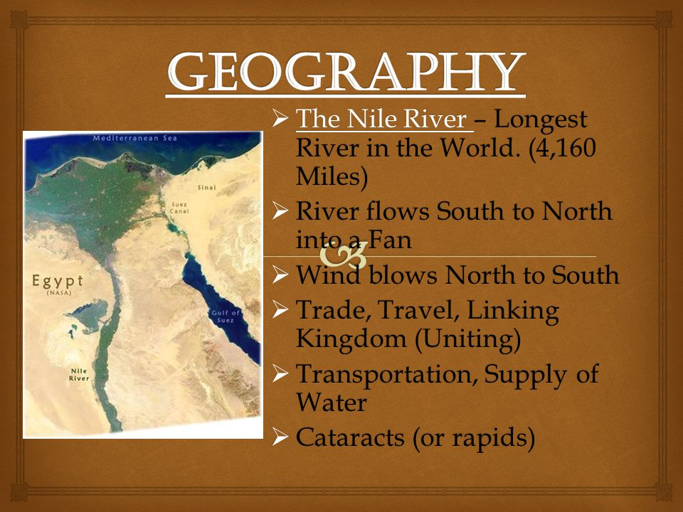 Geography The Nile River – Longest River in the World. (4,160 Miles)
