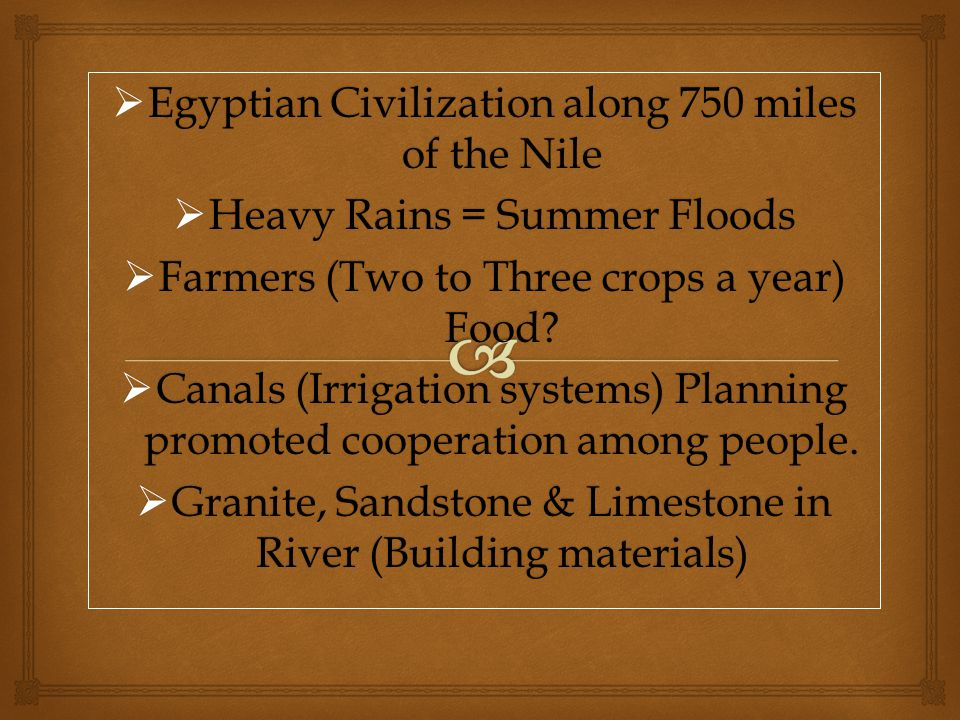 Egyptian Civilization along 750 miles of the Nile