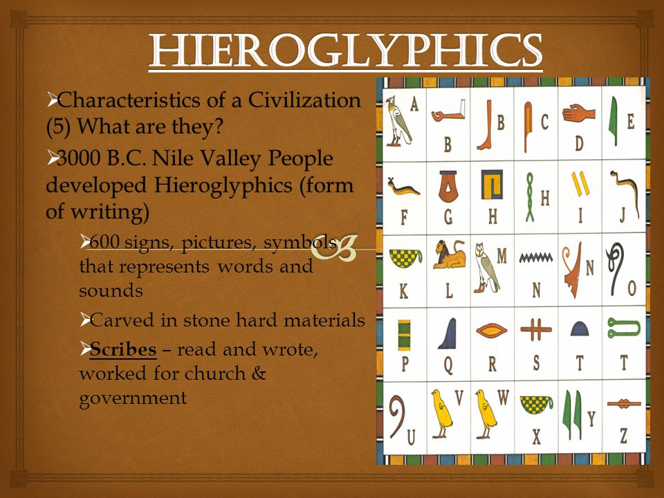 Hieroglyphics Characteristics of a Civilization (5) What are they