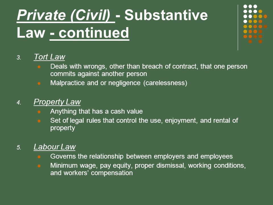 substantive and procedural law relationship marketing