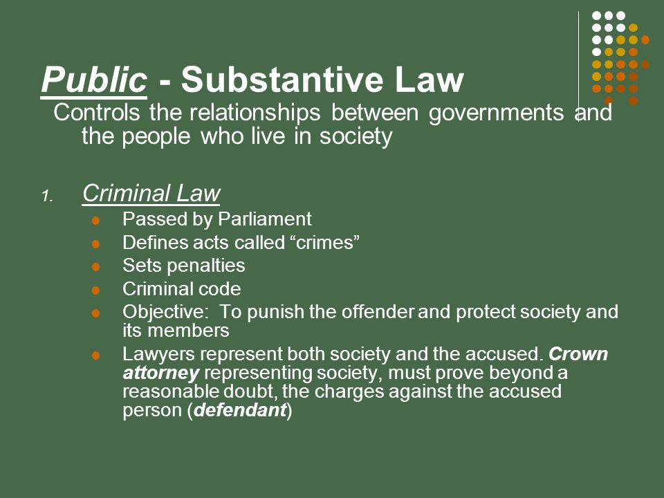 substantive law Substantive law refers to all categories of public and private law, including the  law of contracts, real property, torts, and criminal law for example, criminal law.