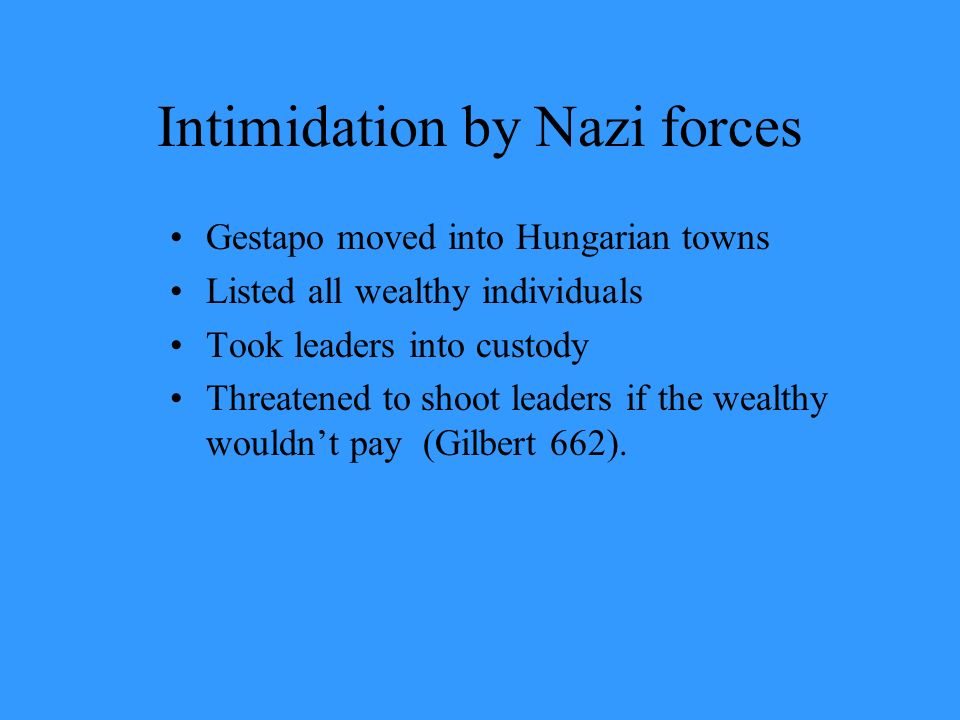 Intimidation by Nazi forces