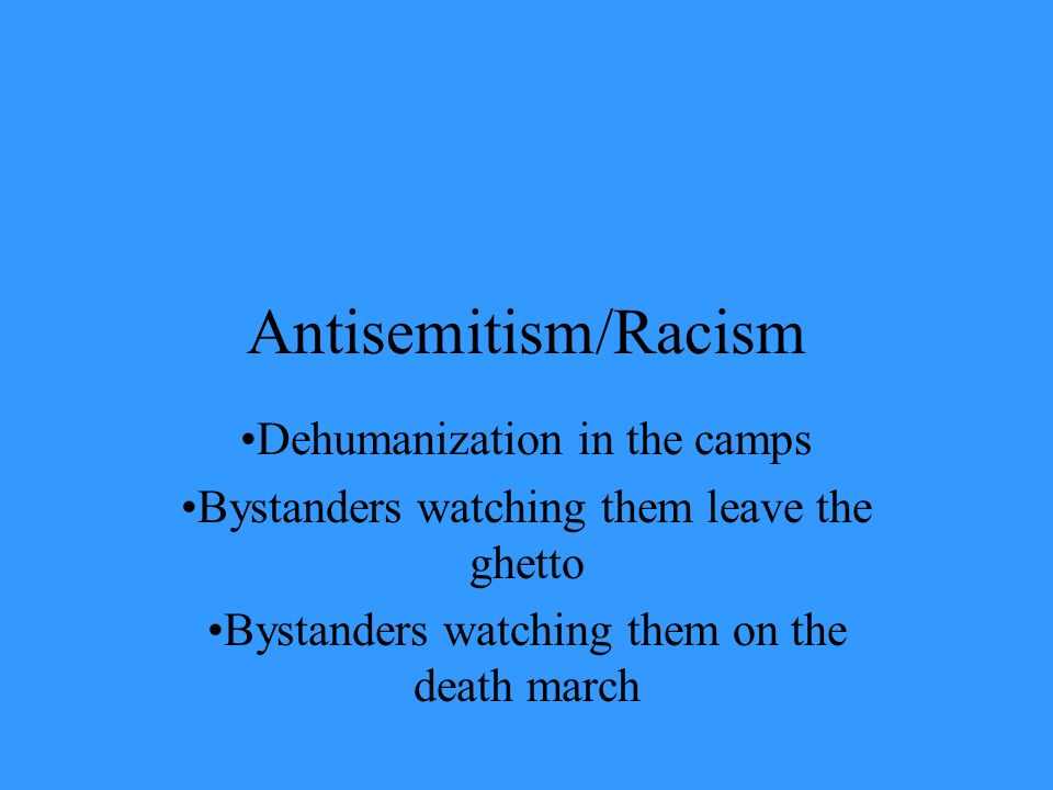 Antisemitism/Racism Dehumanization in the camps