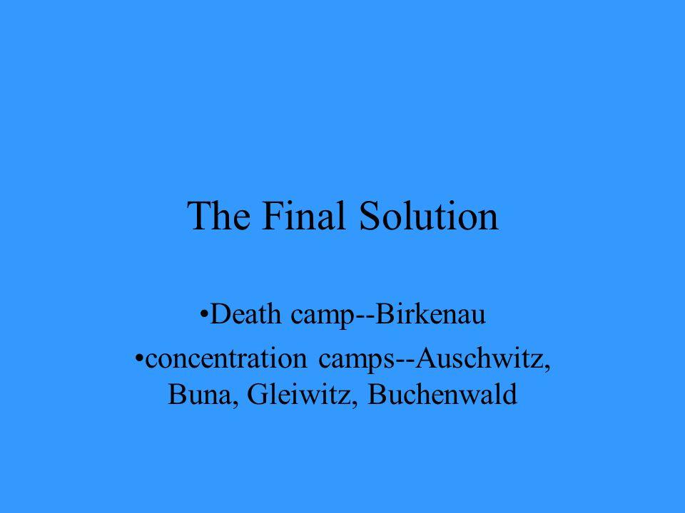 concentration camps--Auschwitz, Buna, Gleiwitz, Buchenwald