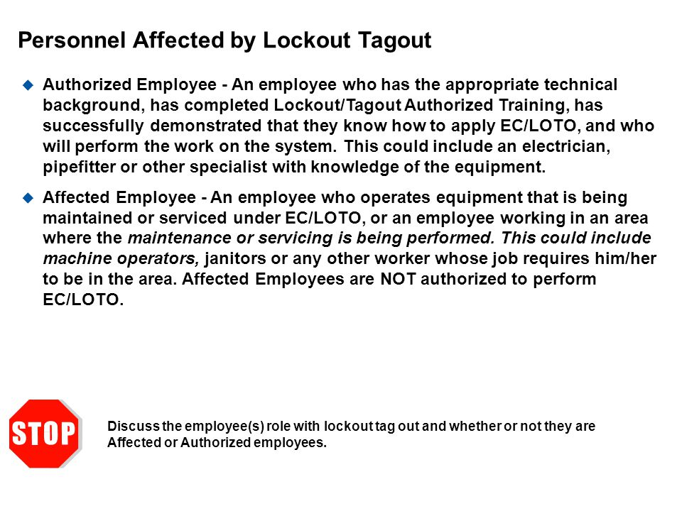 Personnel Affected by Lockout Tagout
