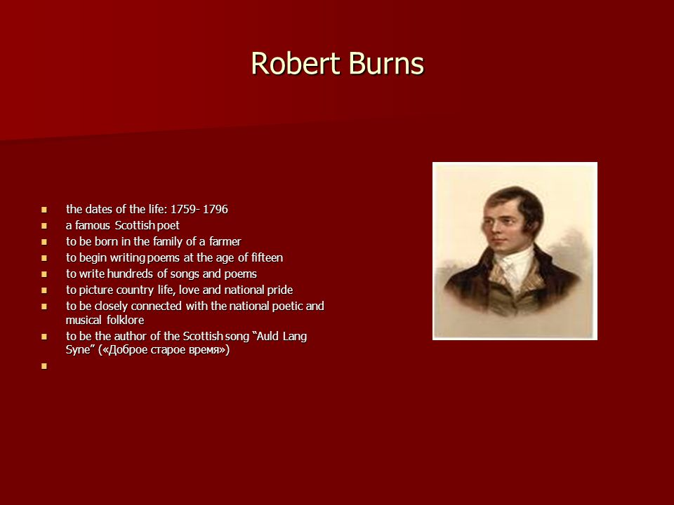 "life of robert burns essay ""robert burns, the bard of scotland"" ( 1739 – 1796 ) his male parent w burns was a industrious husbandman he knew the value of a good instruction and he was."