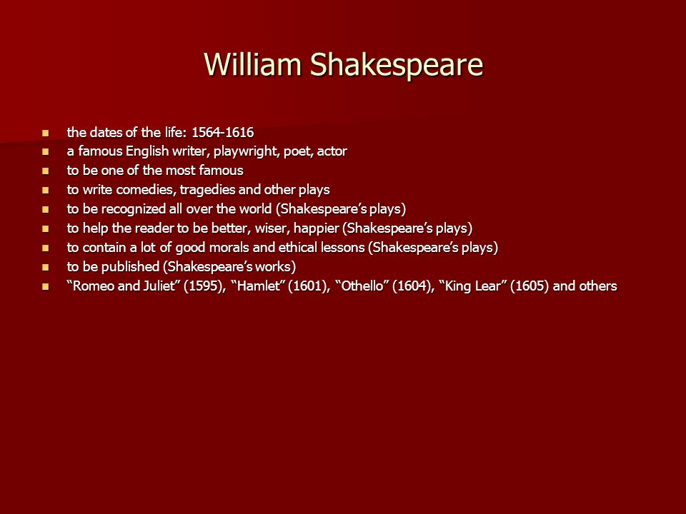 A biography of william shakespeare a great poet and playwright