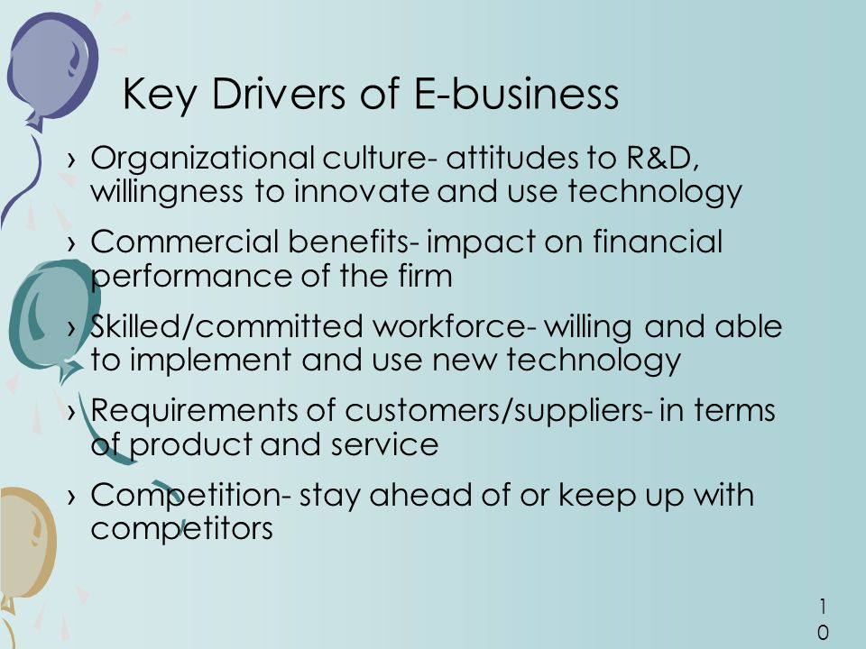 Key Drivers of E-business