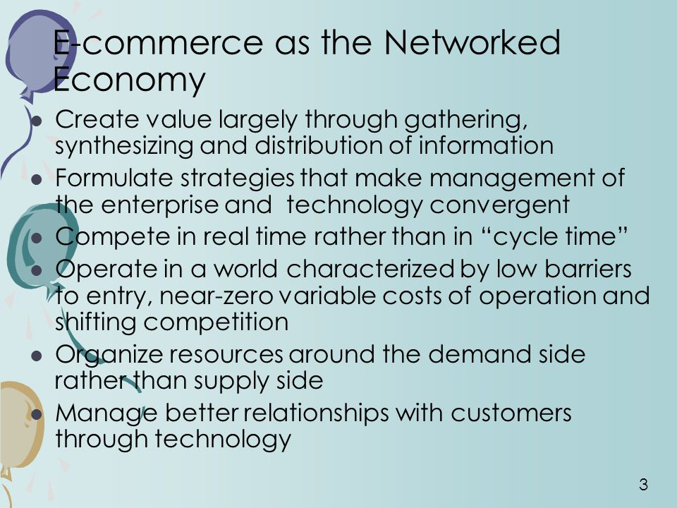 E-commerce as the Networked Economy