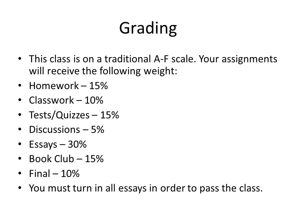 Grading This class is on a traditional A-F scale. Your assignments will receive the following weight: