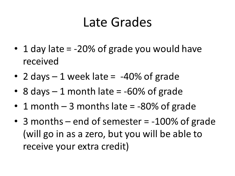 Late Grades 1 day late = -20% of grade you would have received
