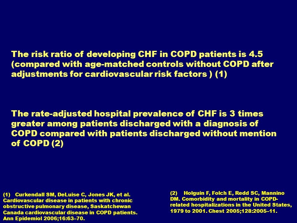 The risk ratio of developing CHF in COPD patients is 4.5