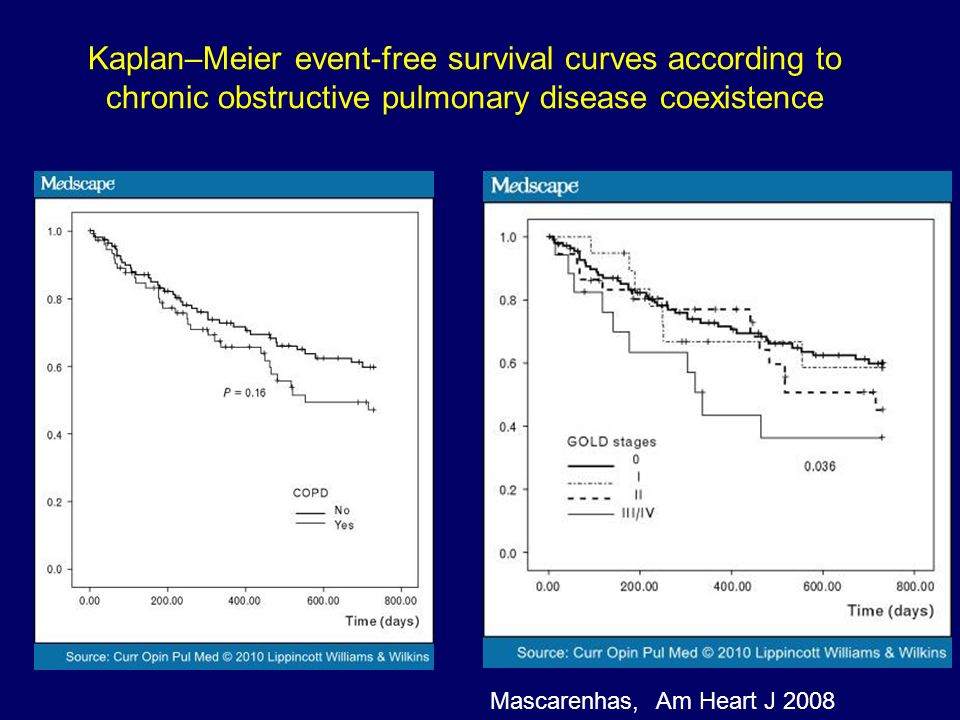 Kaplan–Meier event-free survival curves according to chronic obstructive pulmonary disease coexistence