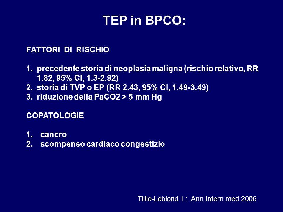 TEP in BPCO: FATTORI DI RISCHIO
