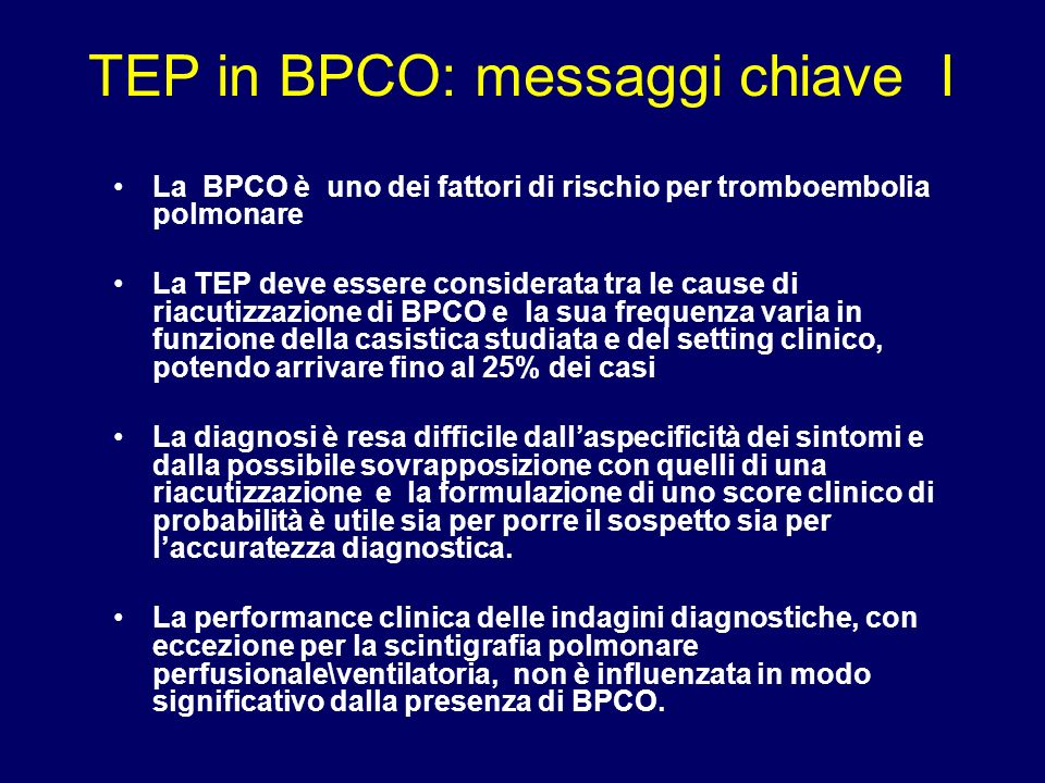 TEP in BPCO: messaggi chiave I