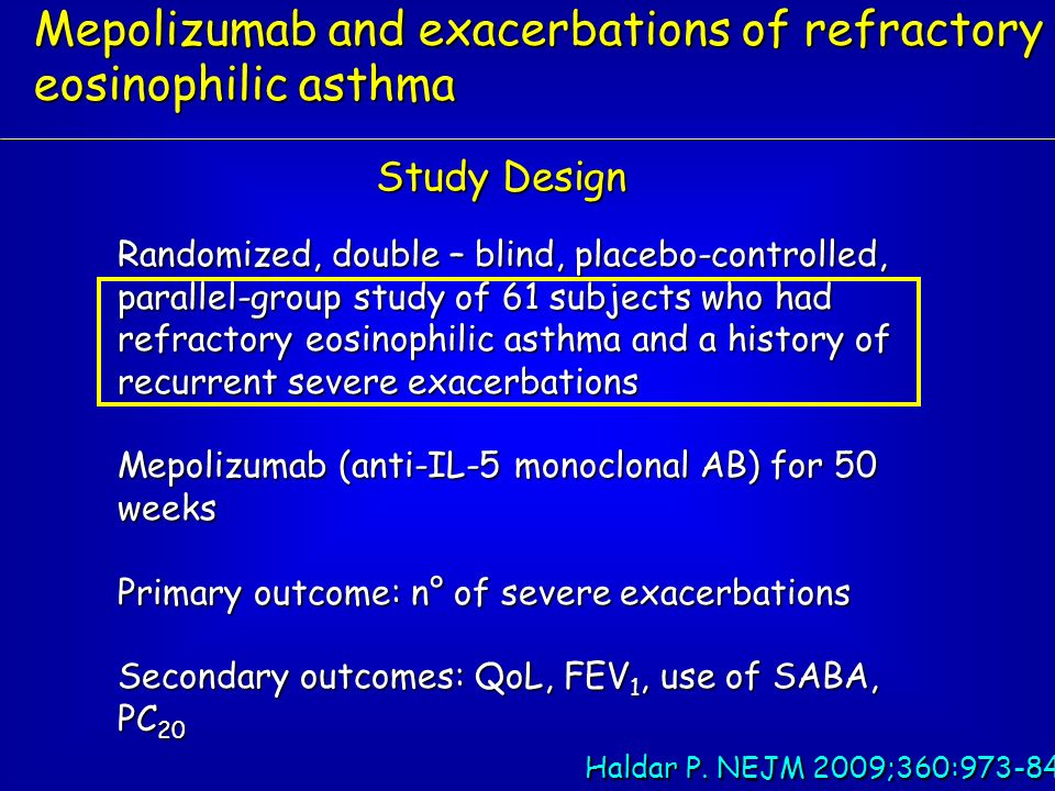 Mepolizumab and exacerbations of refractory eosinophilic asthma