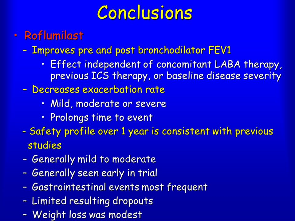 Conclusions Roflumilast Improves pre and post bronchodilator FEV1
