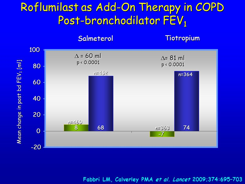 Roflumilast as Add-On Therapy in COPD Post-bronchodilator FEV1
