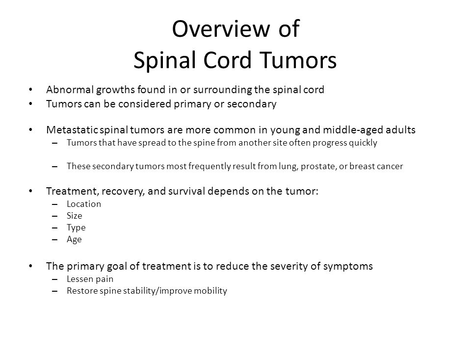 Overview of Spinal Cord Tumors