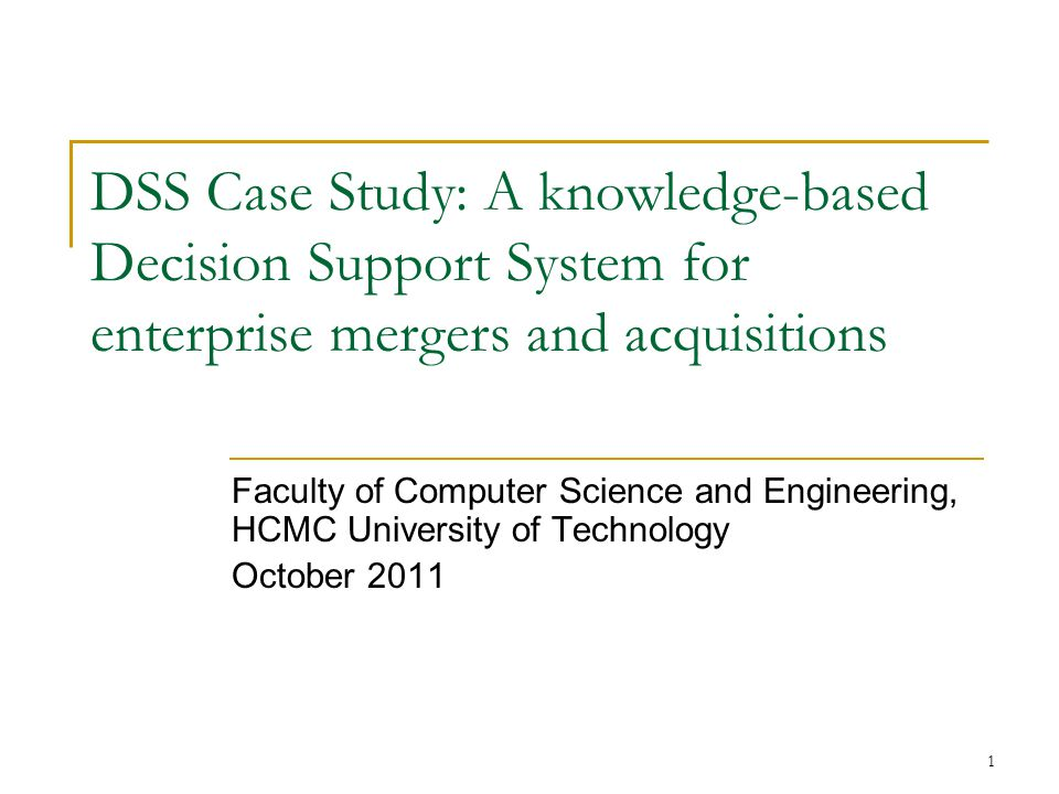 Decision Support Systems (DSS) Optimal—A Case Study from the Czech Republic