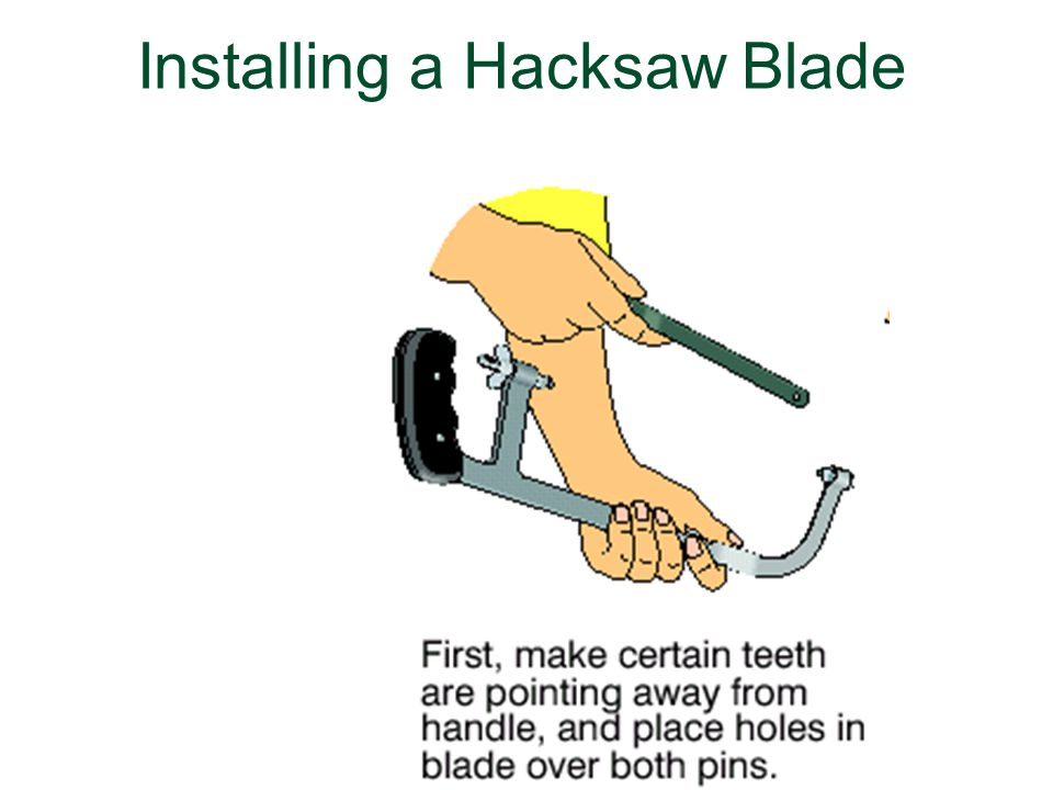 Using metal cutting processes and techniques ppt download 41 installing a hacksaw blade greentooth Choice Image