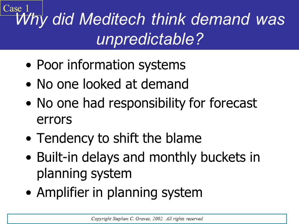 Why did Meditech think demand was unpredictable