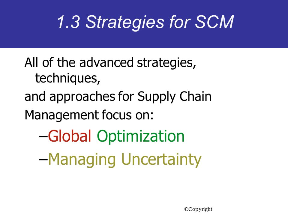 1.3 Strategies for SCM Global Optimization Managing Uncertainty