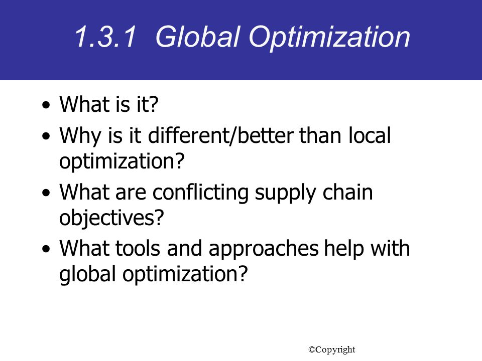 1.3.1 Global Optimization What is it