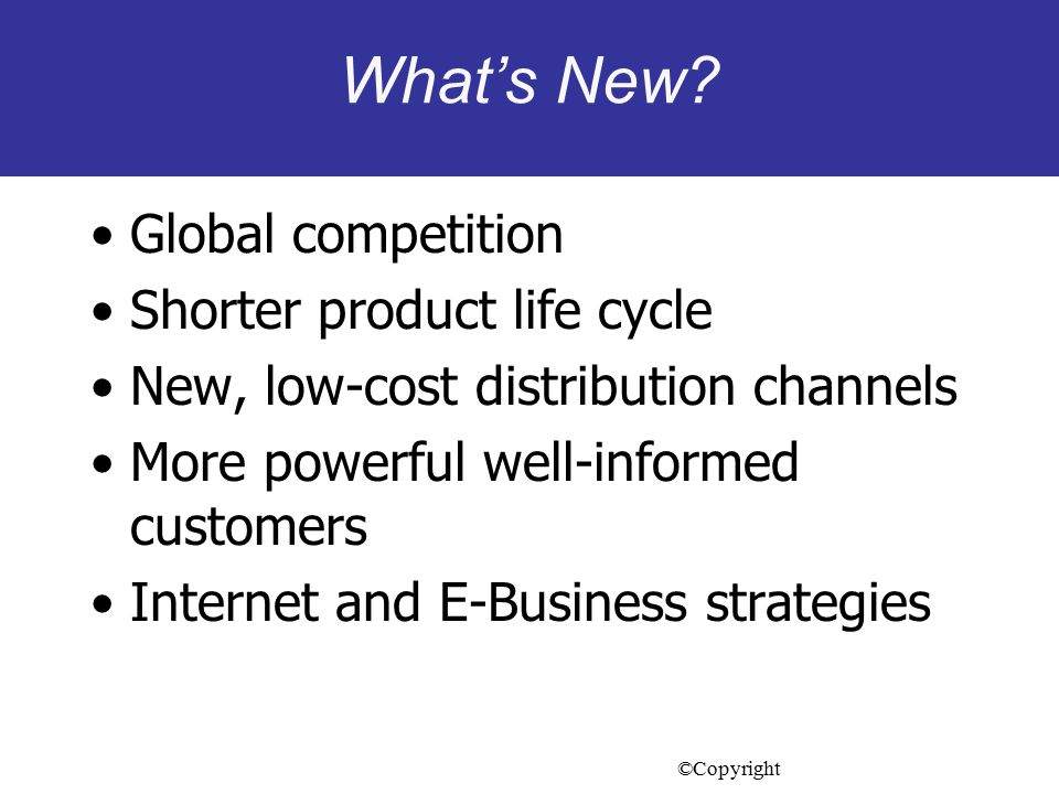 What's New Global competition Shorter product life cycle