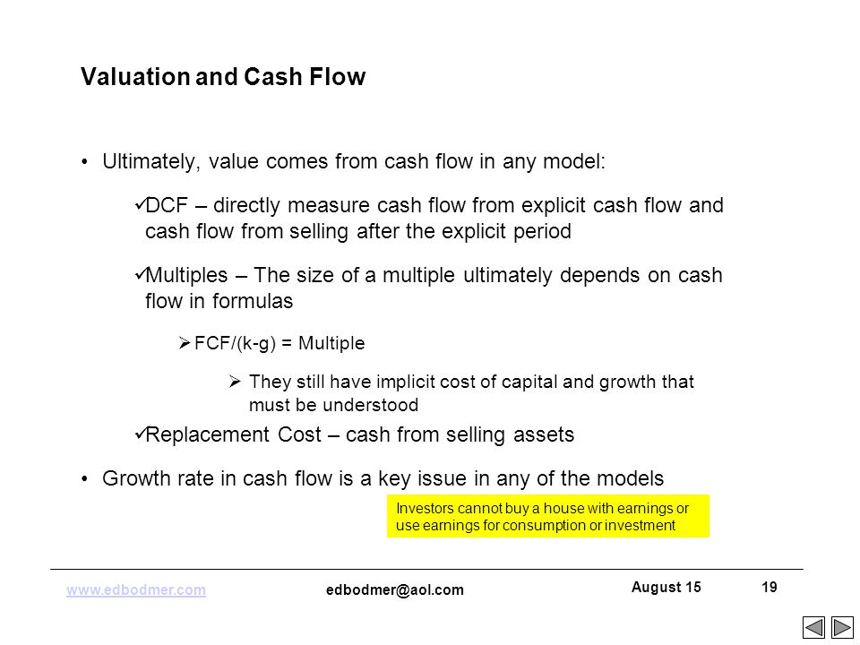 cash flow and growth rate Different types of growth rates: what is free cash flow after paying its expenses and investing in its growth free cash flow is equal to total cash.