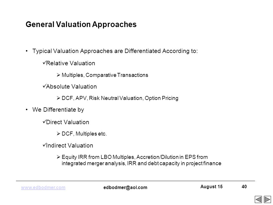 valuation comparative method Explanation of the business valuation methods under the asset, income and market-based valuation approaches as they apply to small company valuation  comparative .