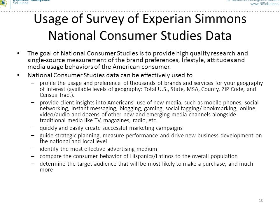 Usage of Survey of Experian Simmons National Consumer Studies Data