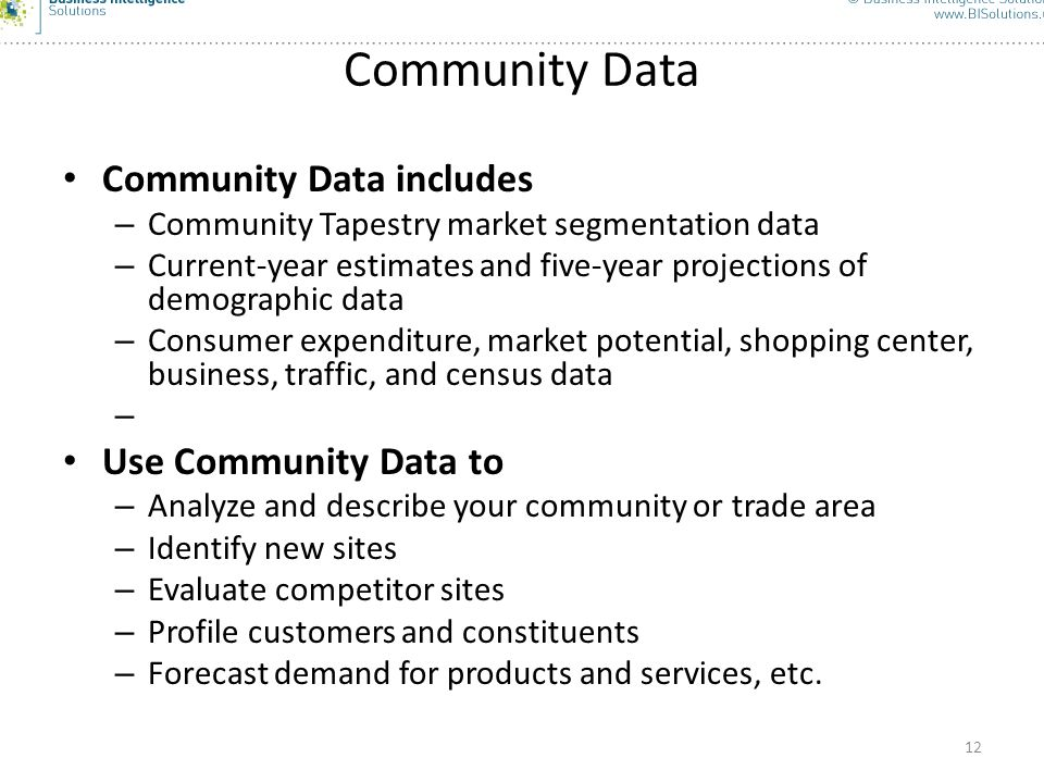 Community Data Community Data includes Use Community Data to