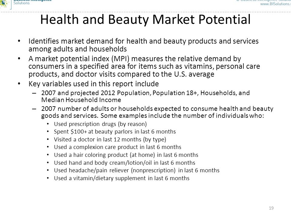 Health and Beauty Market Potential