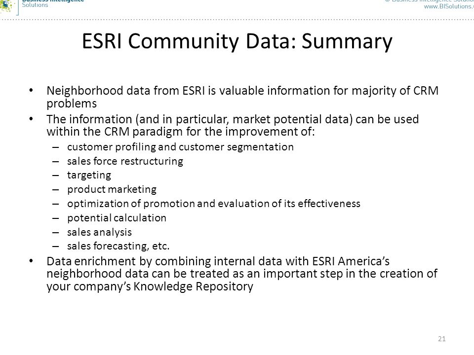 ESRI Community Data: Summary