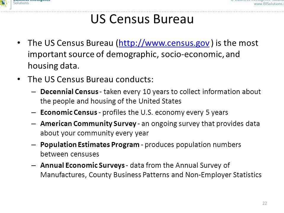 US Census Bureau The US Census Bureau (  ) is the most important source of demographic, socio-economic, and housing data.