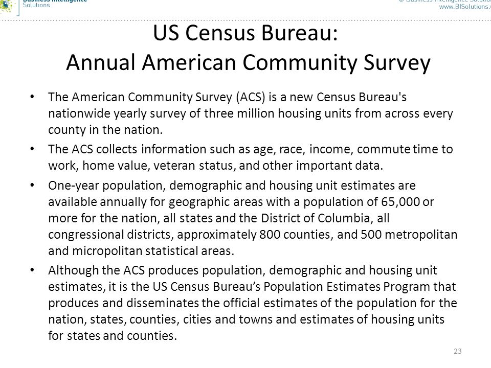 US Census Bureau: Annual American Community Survey