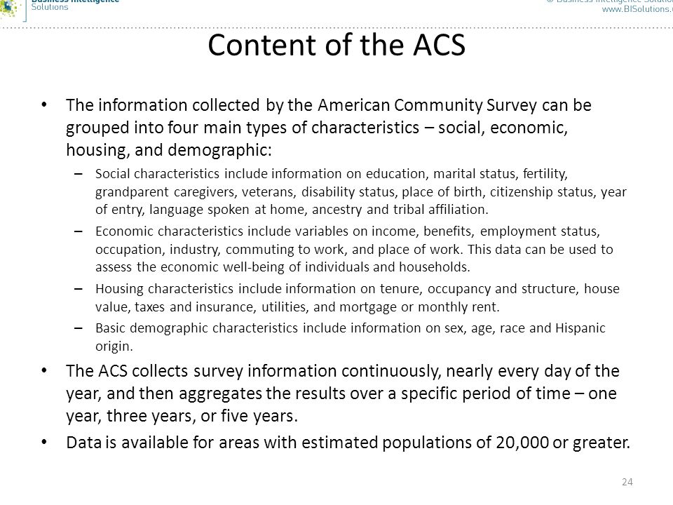 Content of the ACS