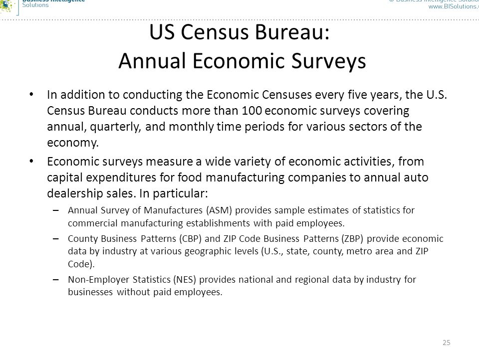 US Census Bureau: Annual Economic Surveys