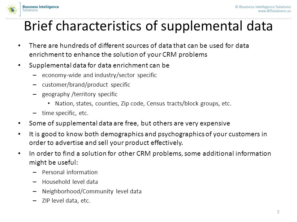 Brief characteristics of supplemental data